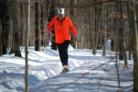 Rich Busa competed at Curly's Record Run snowshoe race in Pittsfield, and placed first in his age group.